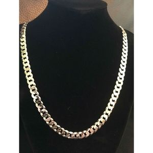 Men's Flat Miami Cuban Link Chain Solid Silver